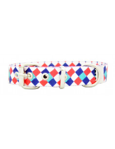 Collar Perro Arlequin 2 cm Azul