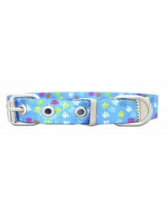 Collar Perro Patitas 1,5 cm Azul
