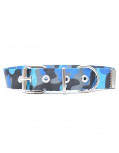 Collar Perro Camuflado Turquesa 3 cm
