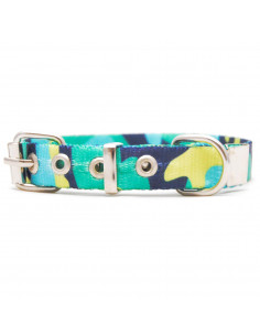 Collar Perro Camuflado Turquesa 1,5 cm