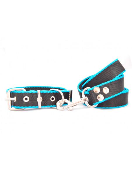 Collar Perro Negro-Turquesa 3 cm conjunto
