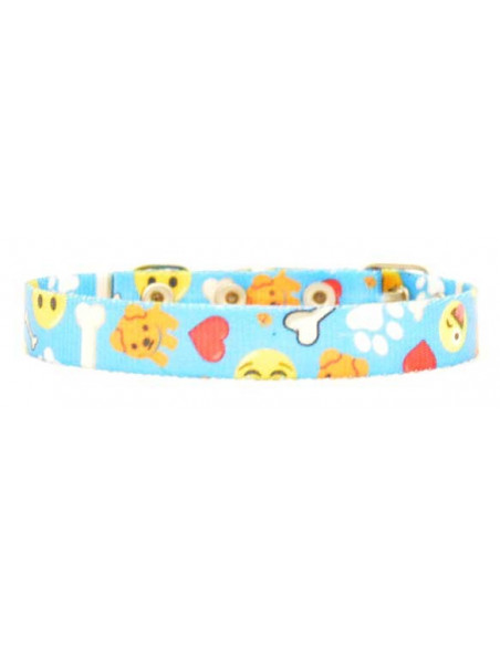 Collar Perro Emoji 1,5 cm Turquesa