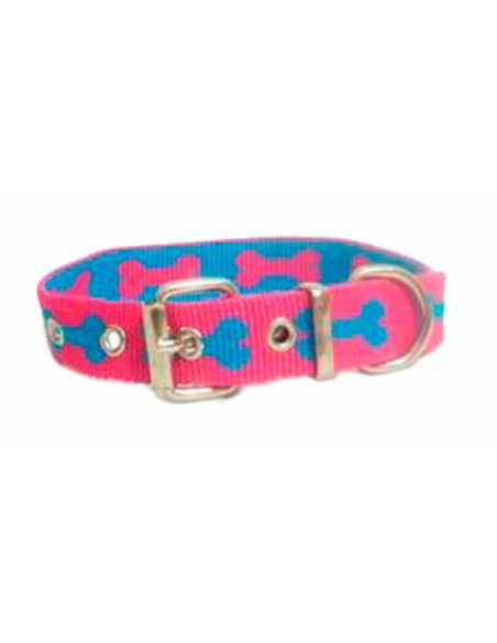 Collar Perro Huesos 2 cm Fuxia