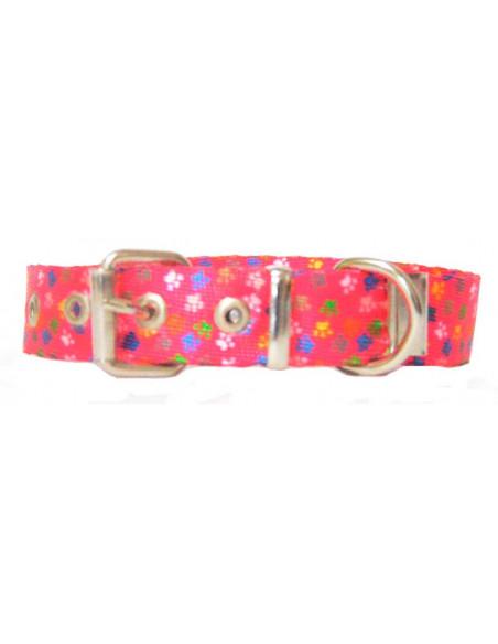 Collar Perro Patitas 2 cm Fuxia