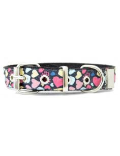 Collar Perro Corazon Black 2 cm