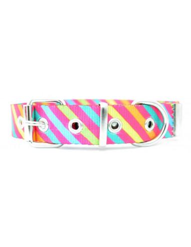 Collar Perro Raya Diagonal 2,5 cm Fucsia