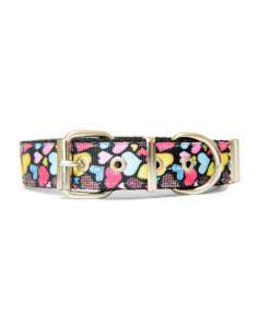 Collar Perro CorazonBlack 2,5 cm