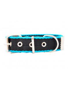 Collar Perro Negro-Turquesa 3 cm