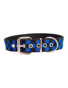 Collar Perro  Damero 3 cm Azul