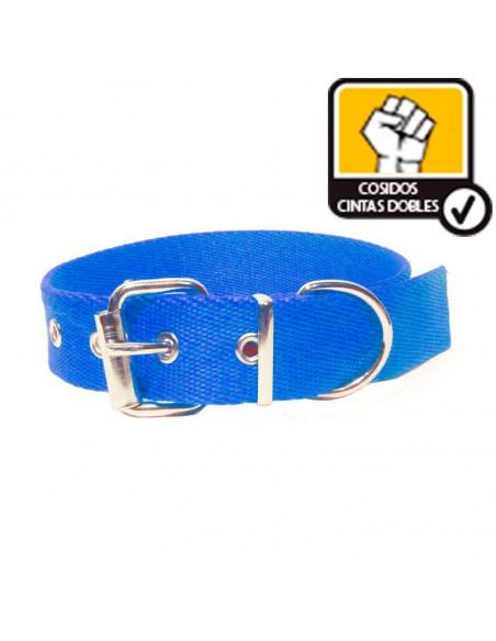 Collar Perro Liso 3 cm  Doble  Azul