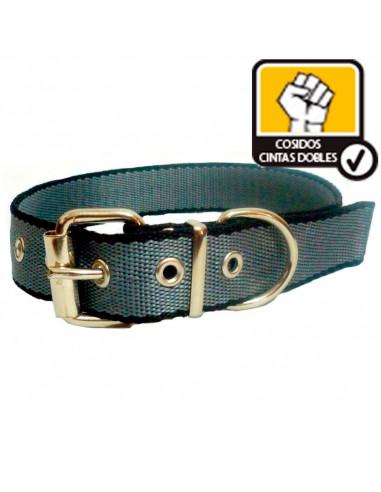 Collar Perro  Negro-Gris 3 cm Doble