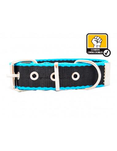 Collar Perro Negro-Turquesa 3cm Doble