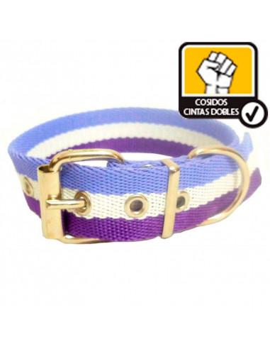 Collar Perro Lila-Violeta 3 cm Doble