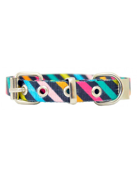 Collar Perro Rayas Diagonal 1,5 cm  Negro