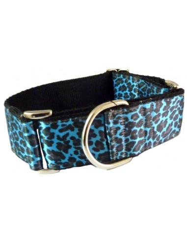 Collar Perro Martingale Leopardo 4 cm  Azul