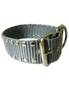Collar Perro  Militar Remache 5 cm  Gris