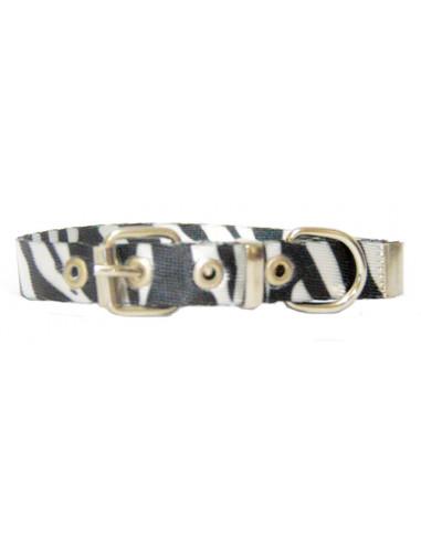 Collar Perro Cebra 1,5 cm  Blanco