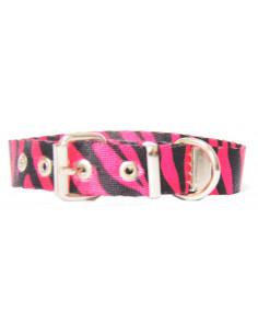 Collar Perro Cebra 1,5 cm  Fuxia