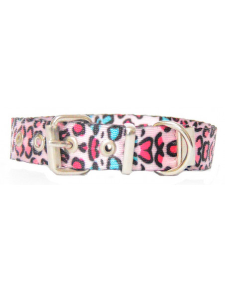 Collar Perro Animal Print 1,5 cm Rosa