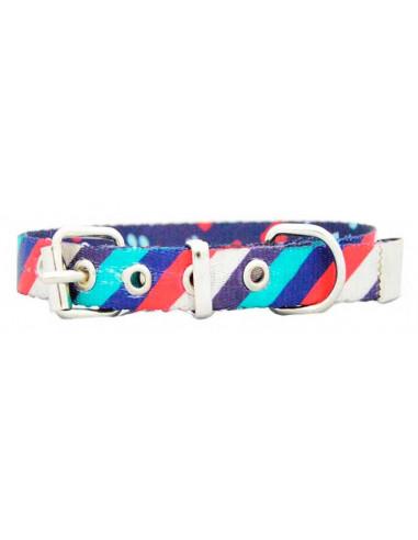 Collar Perro Rayas Diagonal 1,5 cm  Marino