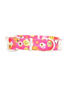 Collar Perro Emoji 2 cm fuxia